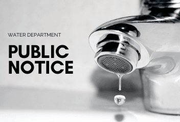 Water Department Public Notice with faucet