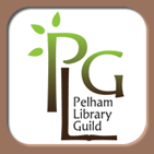 Green and Brown Letters P L G. Forming the logo for the Pelham Library Guild
